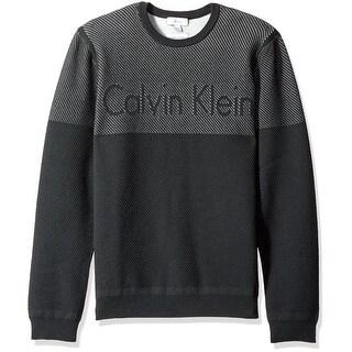 Calvin Klein NEW Black Mens Size Large L Slim-Fit Logo Crewneck Sweater