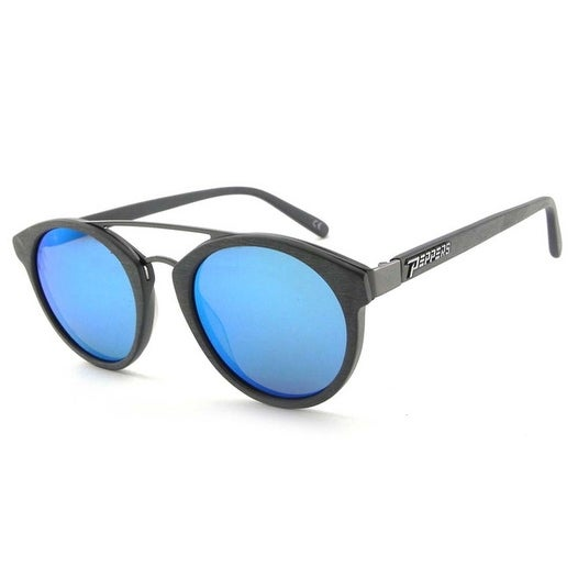 64eb020302 Shop Peppers Polarized Sunglasses Wicked Brushed Grey with Blue Mirror Lens  - Free Shipping Today - Overstock - 15613971