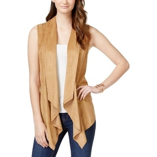 Vakko Womens Casual Vest Faux Suede Draped