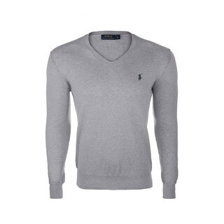 Ralph Lauren Long Sleeve V-Neck Neck Sweater in Gray Mix and Green