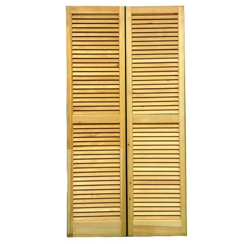 """SOLID WOOD LOUVERED SHUTTERS, 15"""" W x 59"""" H, 1 Pair (2 Pcs)"""