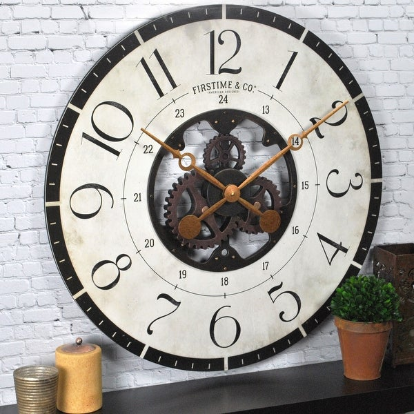FirsTime & Co.® Carlisle Gears Wall Clock, American Crafted, Multi-Color, Wood, 27 x 2 x 27 in - 27 x 2 x 27 in