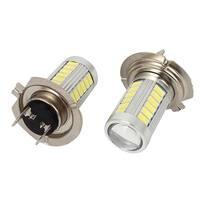 Unique Bargains 2 Pcs White H7 33 5630 SMD LED Lens Foglight Bulb Light for Car