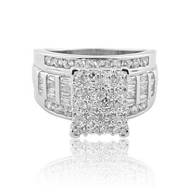 2.5ctw 3 in 1 Style Bridal Wedding Ring 14mm Wide Round and Baguette CZ Sterling Silver