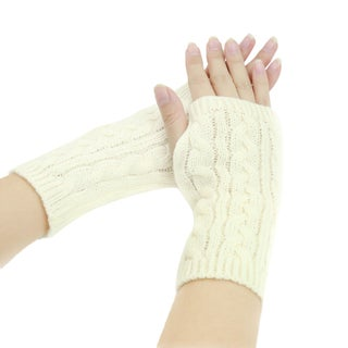 Unisex Elastic Cable Knitting Fingerless Simple Thick Gloves Black 1 Pair