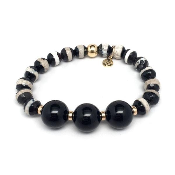 "Black & White Agate Trinity 7"" Bracelet"