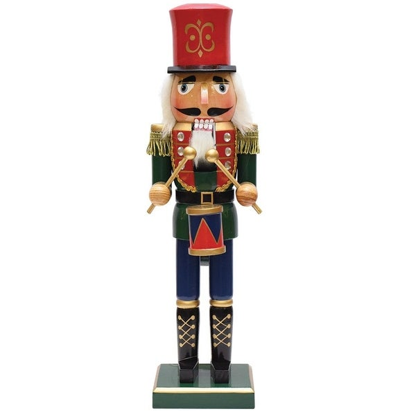 "14"" Decorative Green, Red and Gold Wooden Christmas Nutcracker Drummer"