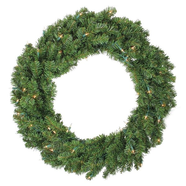 "36"" Pre-Lit Canadian Pine Artificial Christmas Wreath - Clear Lights"