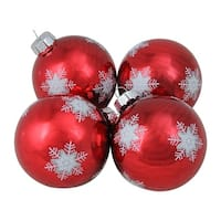 "4-Piece White and Grey Snowflake Pattern on a Red Glass Ball Christmas Ornament Set 4"" (100mm)"