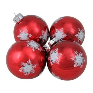 4 piece white and grey snowflake pattern on a red glass ball christmas ornament set