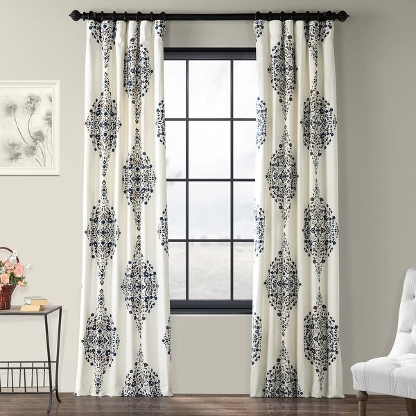 Exclusive Fabrics Kerala Printed Cotton Twill Single Curtain Panel. Opens flyout.
