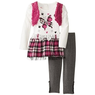 Young Hearts Metallic Faux Fur Pant Outfit - 4T