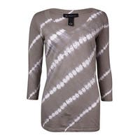 INC International Concepts Women's Studded Tie-Dyed Knit Top - Taupe/White