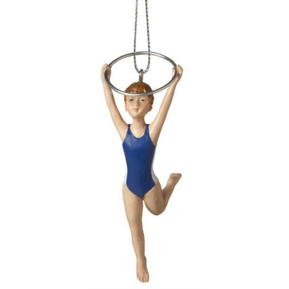 "4"" Aspiring Gymnast with Ring Resin Christmas Ornament"