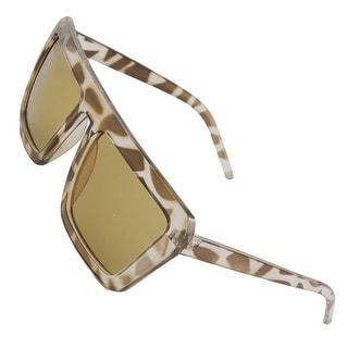 Women Men Leopard Pattern Plastic Frame Brown Lens Sunglasses