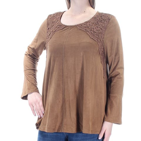 STYLE & CO Womens Brown Faux Suede Embellished Bell Sleeve Jewel Neck Top Size: M