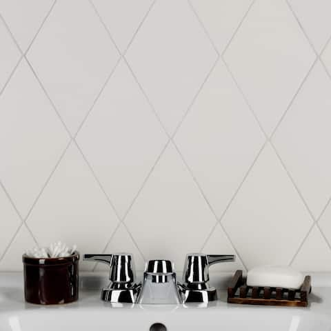 """SomerTile Rhombus Smooth White 5.5"""" x 9.5"""" Porcelain Floor and Wall Tile"""