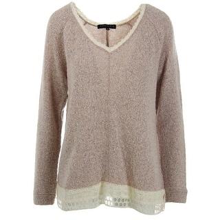 Sanctuary Womens Juniors Crochet Trim Long Sleeves Pullover Sweater - M