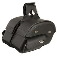 Black Leather Motorcycle Saddle Bags 16X11X6X22