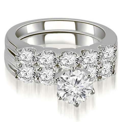 2.80 CT U-Prong Round Cut Diamond Matching Bridal Set in 14KT Gold - White H-I