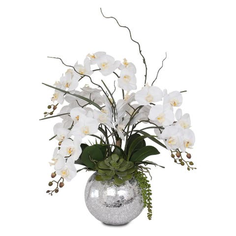 Real Touch White Orchid in Silver Glass Ball - 20 W x 20 D x 27 H