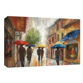 """PTM Images 9-148059  PTM Canvas Collection 8"""" x 10"""" - """"Walk in the Rain I"""" Giclee Carnivals & Fairs Art Print on Canvas"""