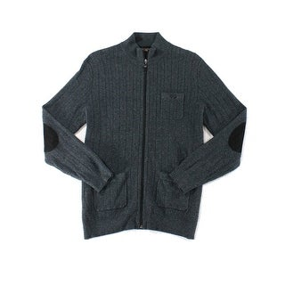 Tasso Elba NEW Gray Mens Size Large L Mock-Neck Ribbed Full Zip Sweater