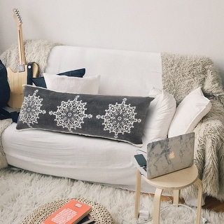 Link to Casual Floral Mandala Medallion Lumbar Pillow with Tufted Border Similar Items in Decorative Accessories