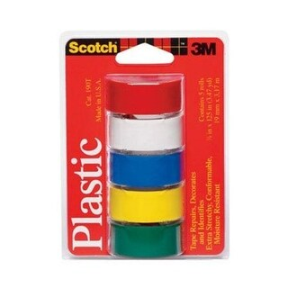 "Scotch 190T Colored Plastic Tape, 3/4"" x 125"", Multi Color"