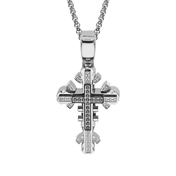 Black & Blue Men's Cross Pendant with Black & White Diamond Accents in Stainless Steel