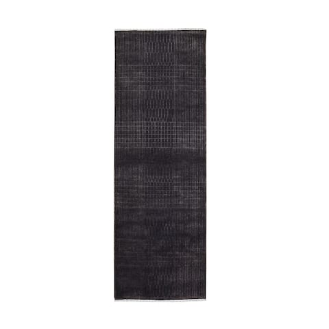 """Hand Knotted Brown Modern and Contemporary with Wool & Silk Oriental Rug (2'3"""" x 6'6"""") - 2'3"""" x 6'6"""""""
