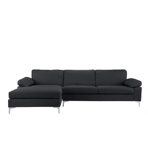 Modern Large Linen L-shaped Sectional Sofa with Wide Chaise