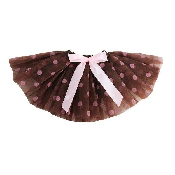 Baby Girls Brown Pink Polka Dots Satin Elastic Waist Ballet Tutu Skirt 0-12M - 0-12 months