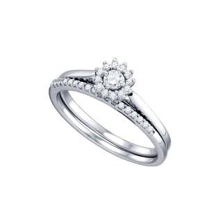 10k White Gold Round Natural Diamond Womens Halo Wedding Bridal Ring Set 1/4 Cttw