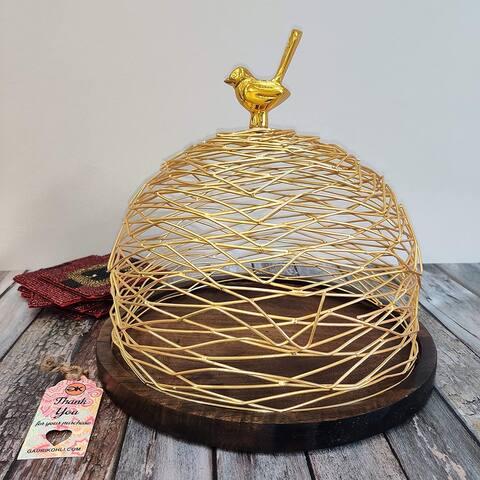 "GAURI KOHLI Koel Dome with Wood Base (12""x12"")"