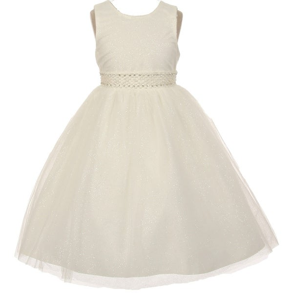 dcc24e64 Shop Flower Girl Dress Sparkly Tulle & Pearl Waist Ivory TR 1031 - Free  Shipping On Orders Over $45 - Overstock - 17752558
