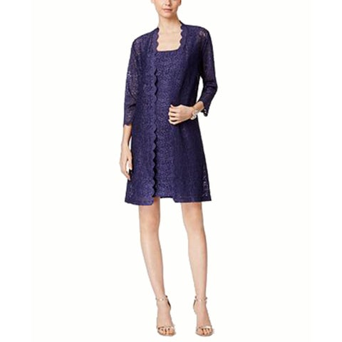 Alex Evenings Petite Lace Sheath Dress and Jacket, Antique Nickel, 16P