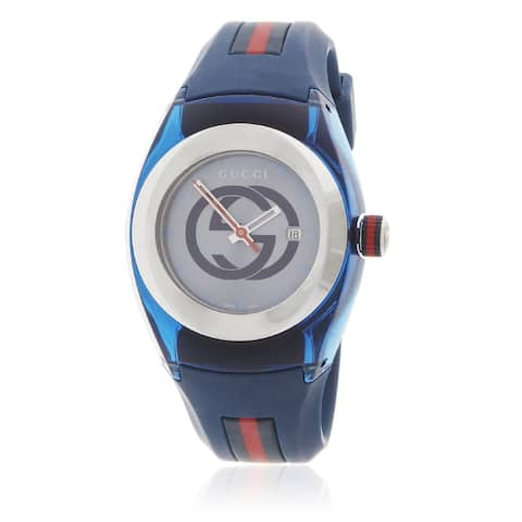 Gucci Unisex YA137304 'Sync' Two-Tone Silicone Watch - Blue