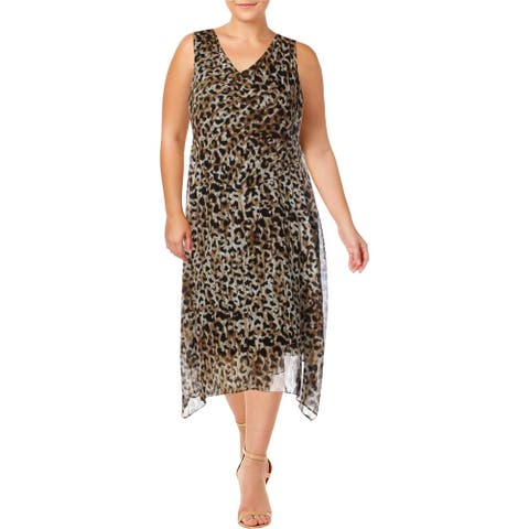 SIGNATURE Brown Sleeveless Midi Dress 14W