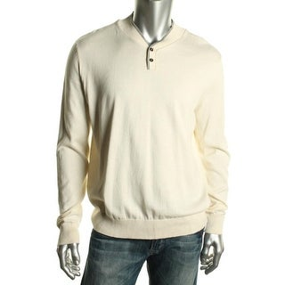 Kenneth Cole Reaction Mens Pullover Sweater Cotton Button - L