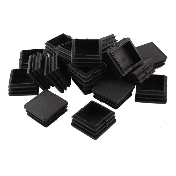 38mm x 38mm Furniture Fittings Black Plastic Square Tube Inserts 20 Pcs