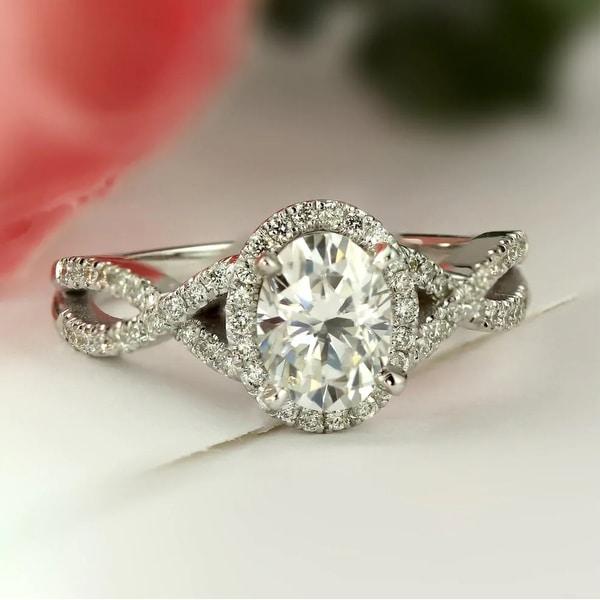 Auriya 14k Gold Oval Moissanite Halo Diamond Engagement Ring. Opens flyout.