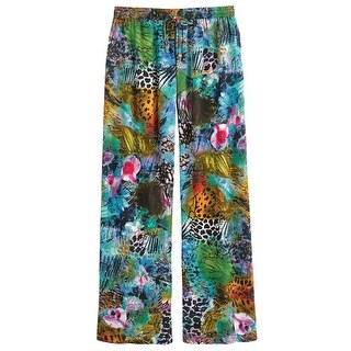 Women's Lounge Pants - Rain Forest Print with Wooden Bead Drawstrings