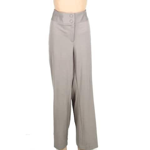 Alfani Women's Pants Beige Size 14W Plus Dress Wide-Leg Tummy-Control