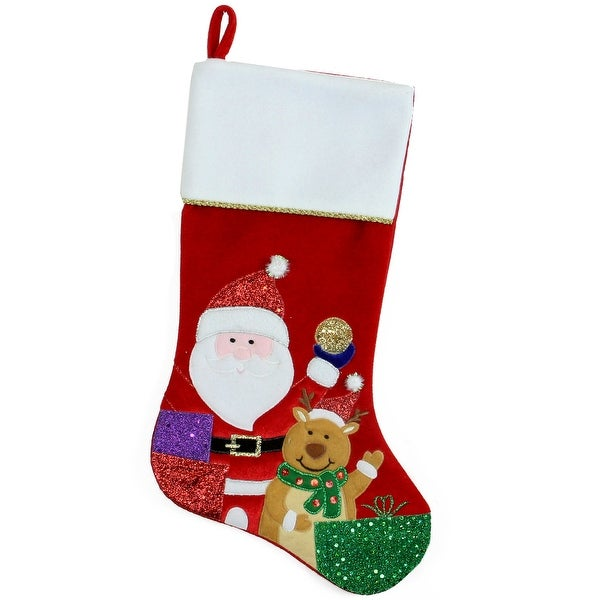 """20.5"""" Red and White Glittered Santa Claus and Reindeer Christmas Stocking"""