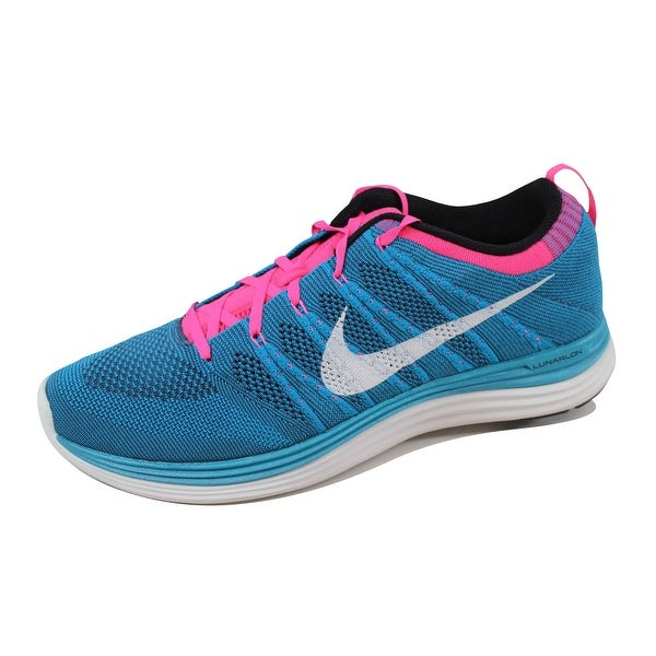 low priced 06683 291d3 ... Men s Athletic Shoes. Nike Men  x27 s Flyknit One+ Neon Turquoise White-Squadron  Blue-
