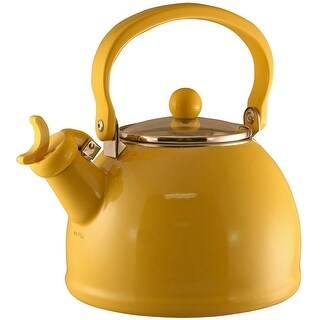 Calypso Basics by Reston Lloyd Harmonic Hum Whistling Teakettle with Glass Lid, 2.2-Quart, Lemon