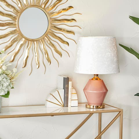 Pink Polyester Glam Table Lamp - 13 x 13 x 20