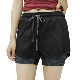 Black Gray Size S Plaid Pattern Drawstring Mesh Workout Fitness Sport Shorts