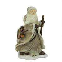 "16.5"" Country Rustic Forest Santa Claus with Bird and Bag Christmas Table Top Figure - WHITE"
